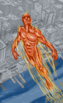 Human Torch over city
