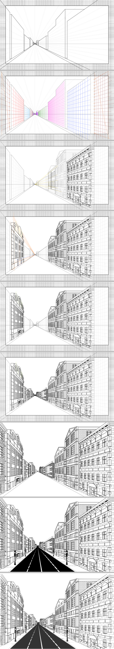 1point Perspective Practice - steps by viscid2007