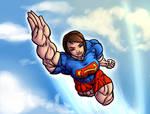 Super Emma Watson in the sky