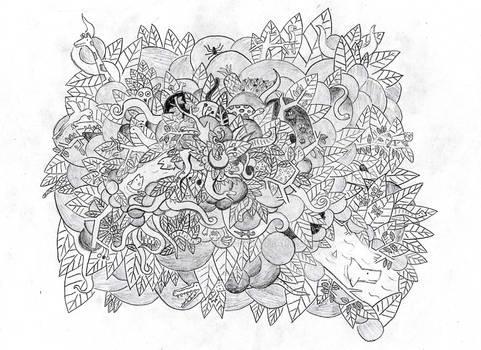 Doodle Art of a Jungle