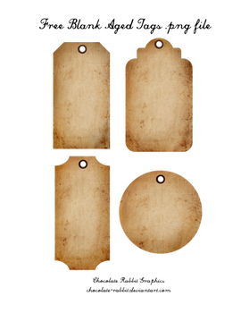 Free Aged Tags - PNG  Freebie