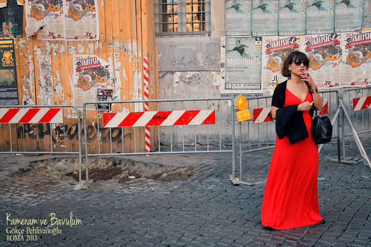 Rome - woman in red