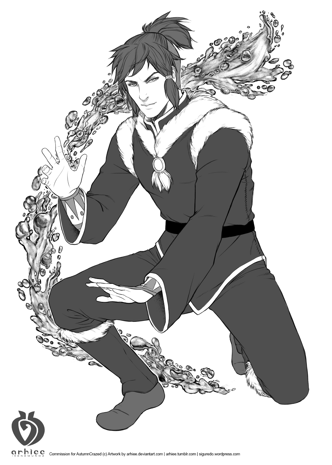 Waterbender male commission for AutumnCrazed by arhiee