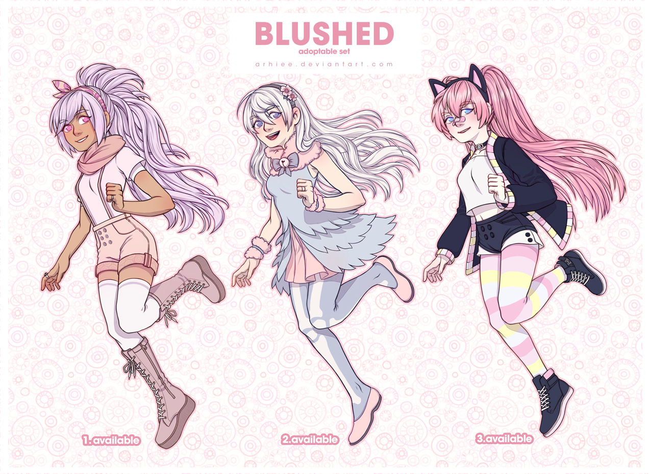 .:BLUSHED:. Adoptable Set (1/3 OPEN) by arhiee