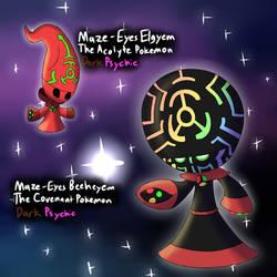 Fakemon 2018 - Maze-Eyes Elgyem Line by TipsyRa1d3n
