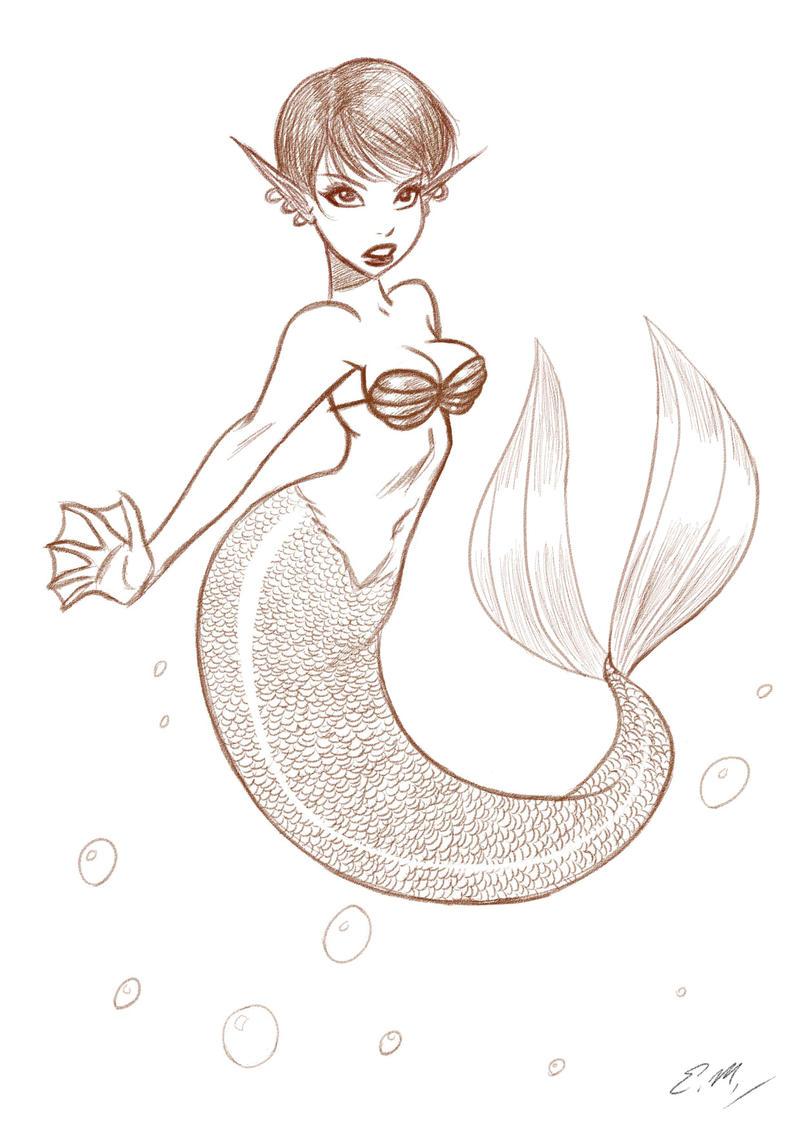 Beautiful Mermaid Drawing on Mermaid Sketch