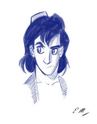 Aladdin Head Sketch by em-scribbles