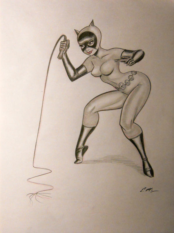 Catwoman Pencil Sketch by em-scribbles