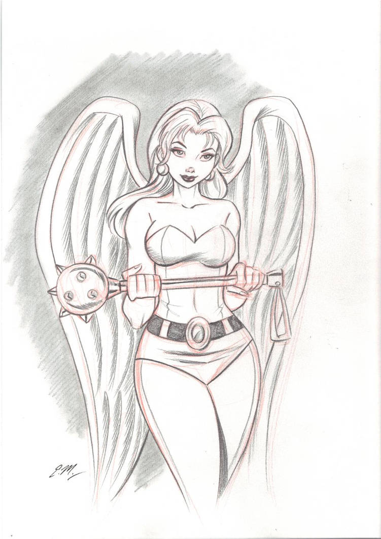 Hawkgirl pencil sketch by em scribbles