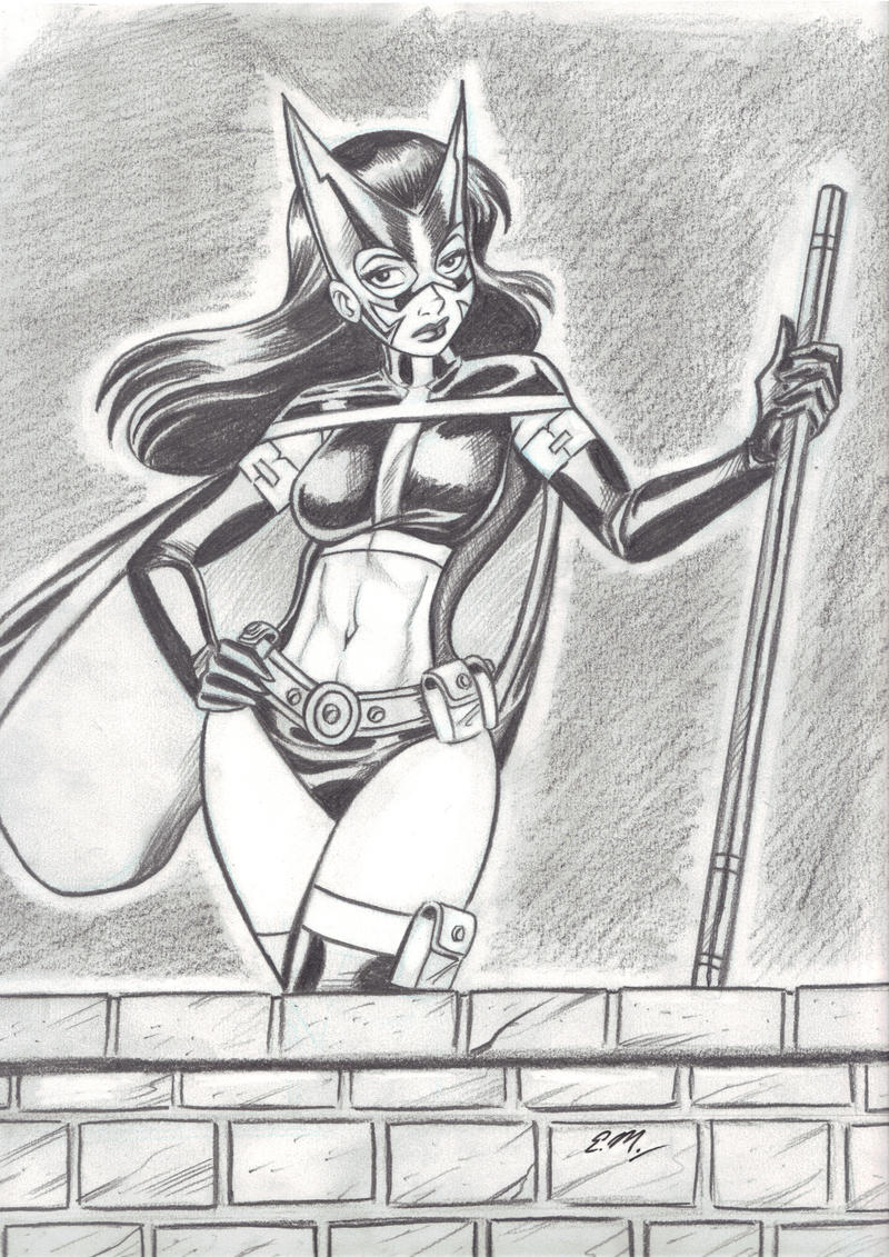 Huntress Pencil Drawing by em-scribbles