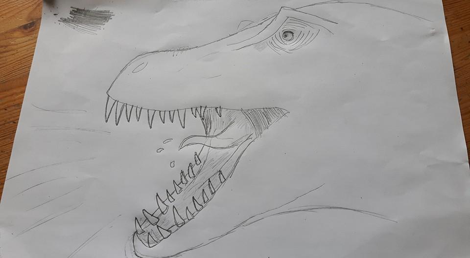 Tyrannosaur Head Sketch by LennyIsATomato