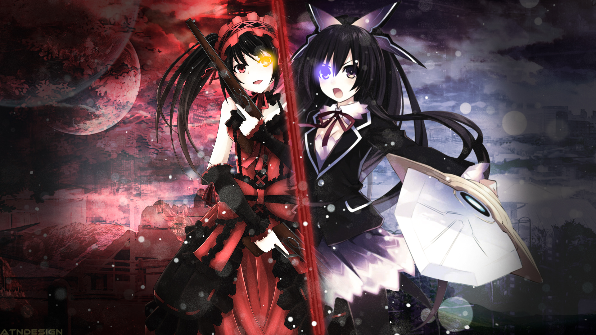 Anime Anime Girls Clocks Date A Live Long Hair Red Ey