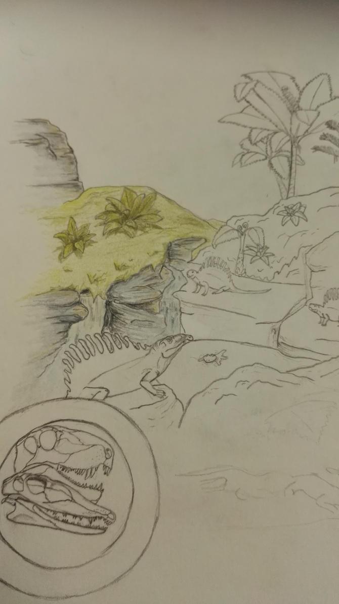 Dimetrodon exhibit in progress by TitanChief10