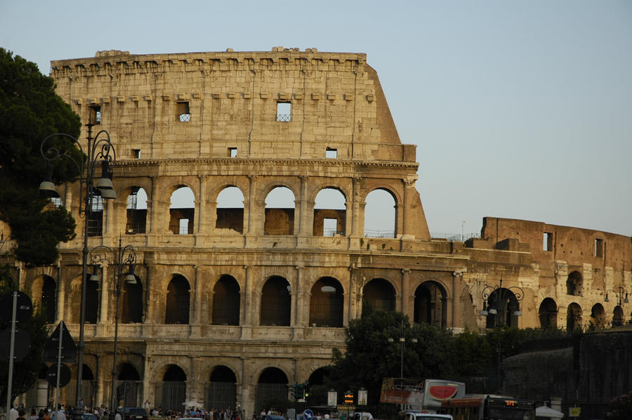 Roman Colliseum at sunset by Panzer-13