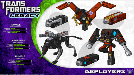 Transformers Legacy: Ravage/Laserbeak/Rumble by CyRaptor
