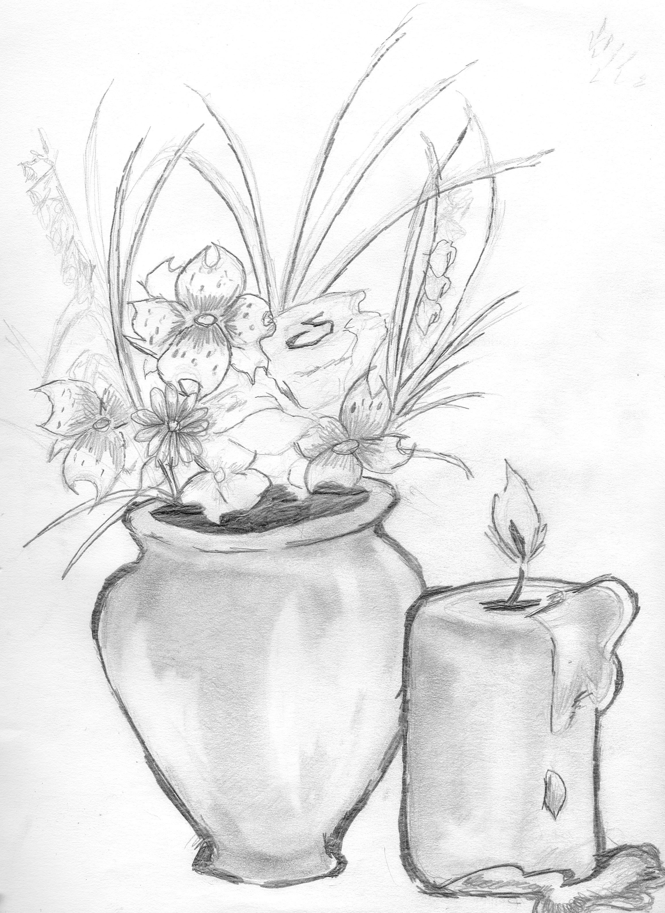 Vase With Flowers Drawing The Image Kid