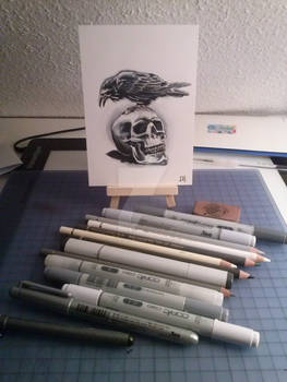 Skull and Crow Card