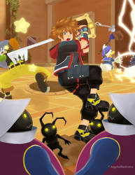 Kingdom Hearts battle by sweet-kitteh