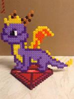 Spyro The Dragon On Gem Stand, Hama Beads by DazzyADeviant