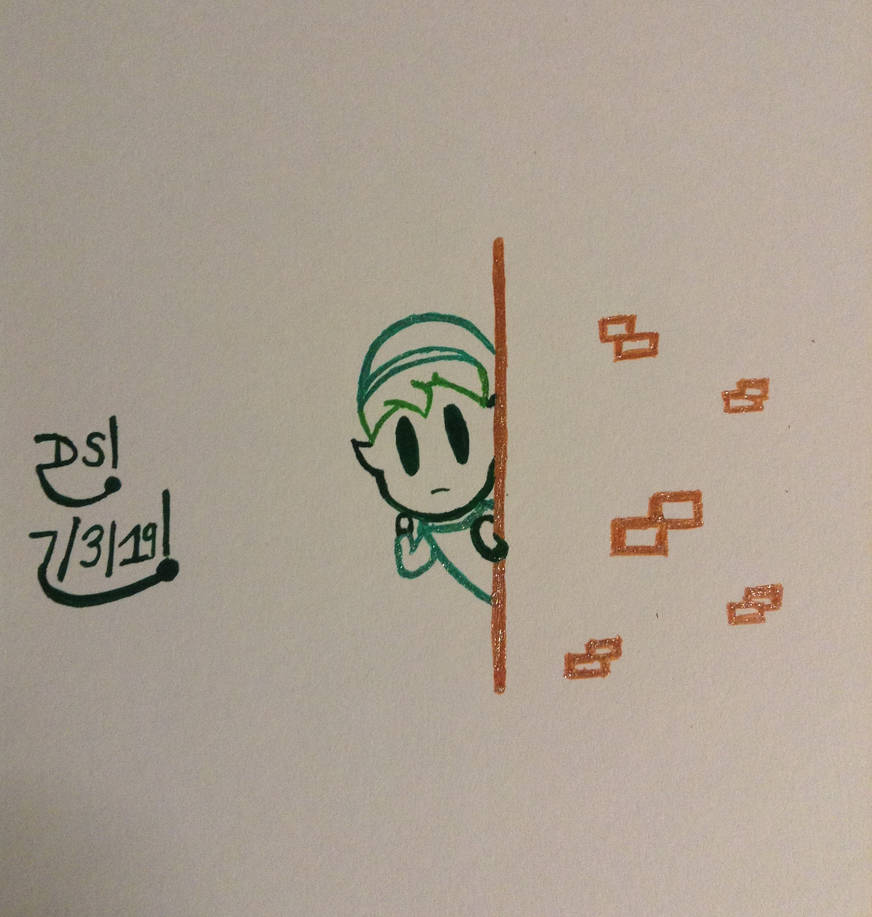 Puppet Link Peeping Around A Corner Drawing by DazzyADeviant