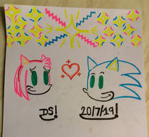 Amy and Sonic - A Star So Bright Drawing