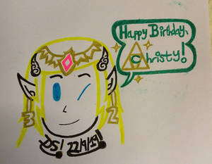 Zelda, Happy Birthday Christy Drawing