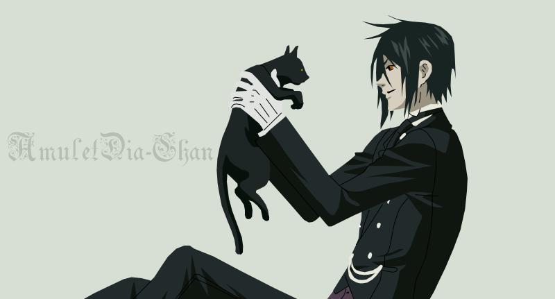 Black butler sebastian and cat wallpaper