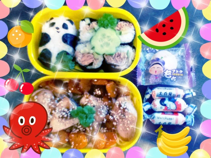 Panda and Chicken Udon Bento by mitsubachichan