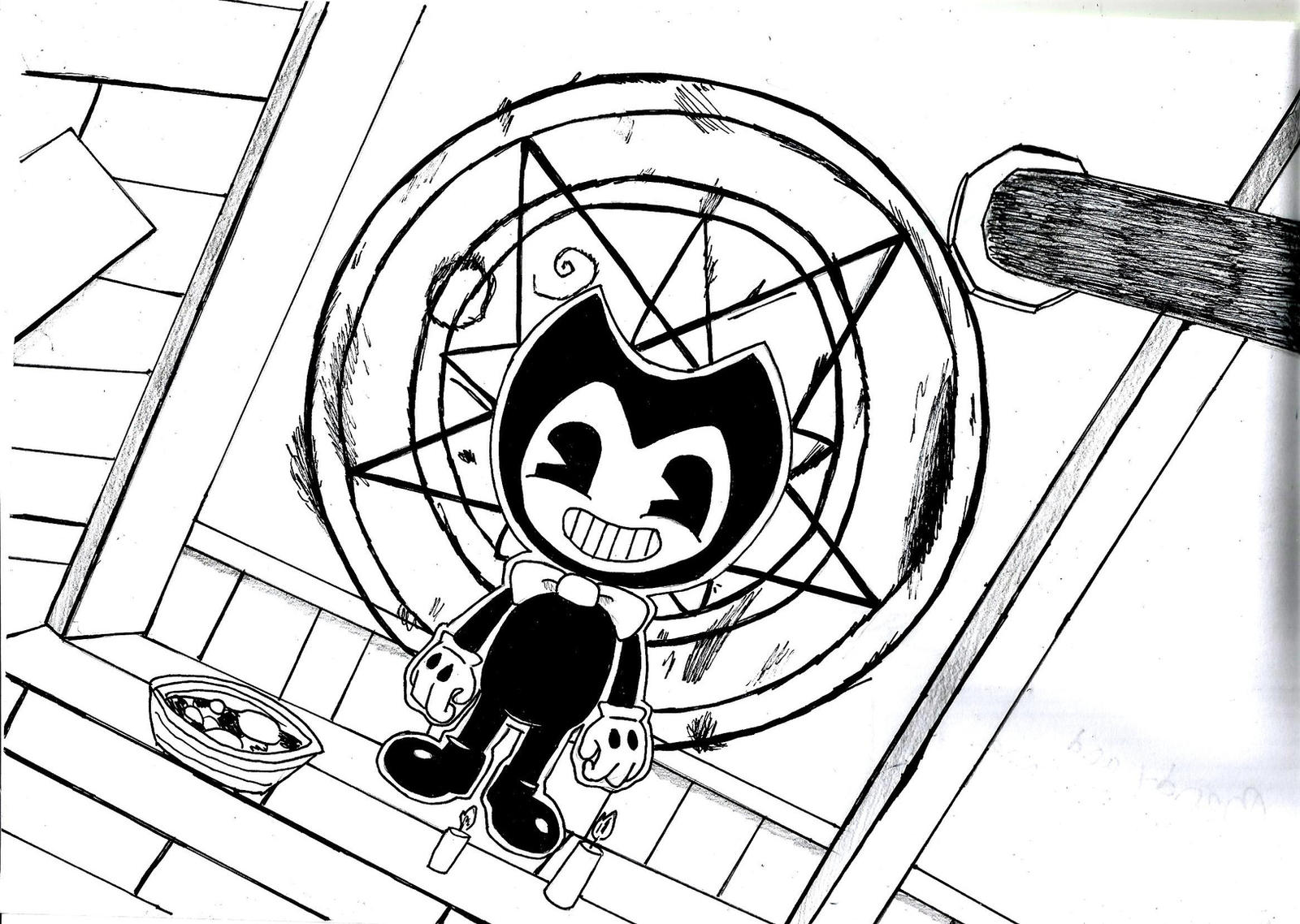 bendy coloring pages - bendy and the ink machine chapter 2 drawing by laukku2000