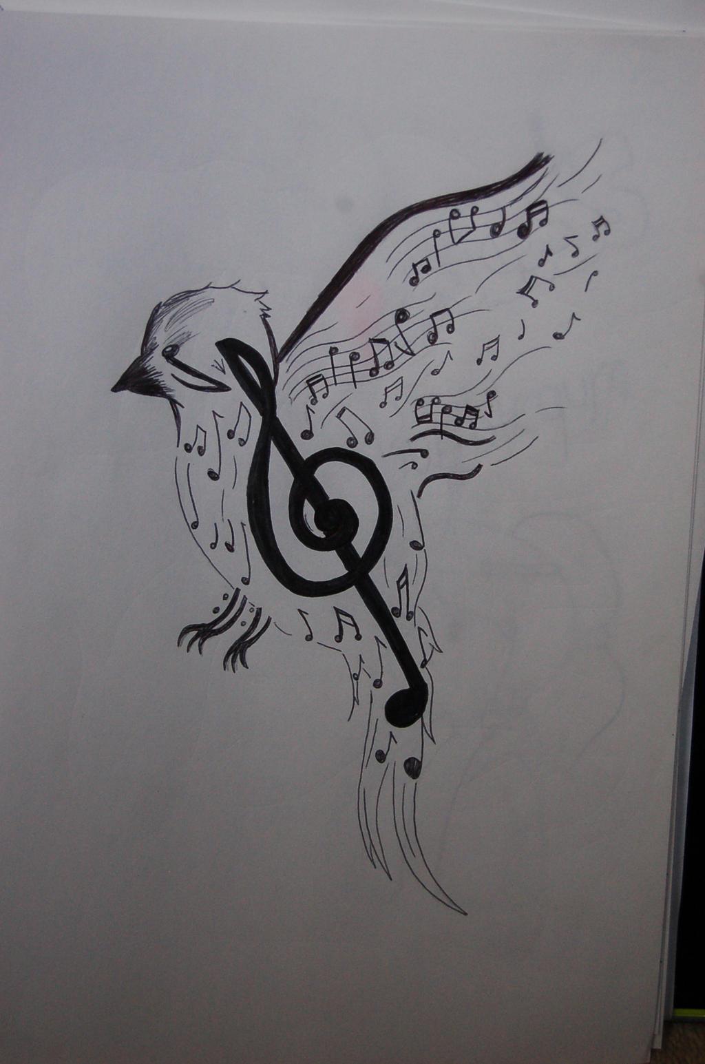 music bird tattoo design by pifferz on deviantart. Black Bedroom Furniture Sets. Home Design Ideas