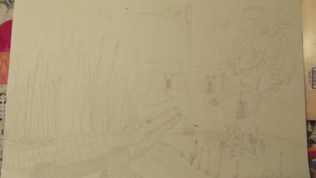 WIP - Art for Sobek's Birthday - Initial Pencils by tiemlord