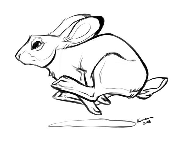 Running Rabbit Drawing