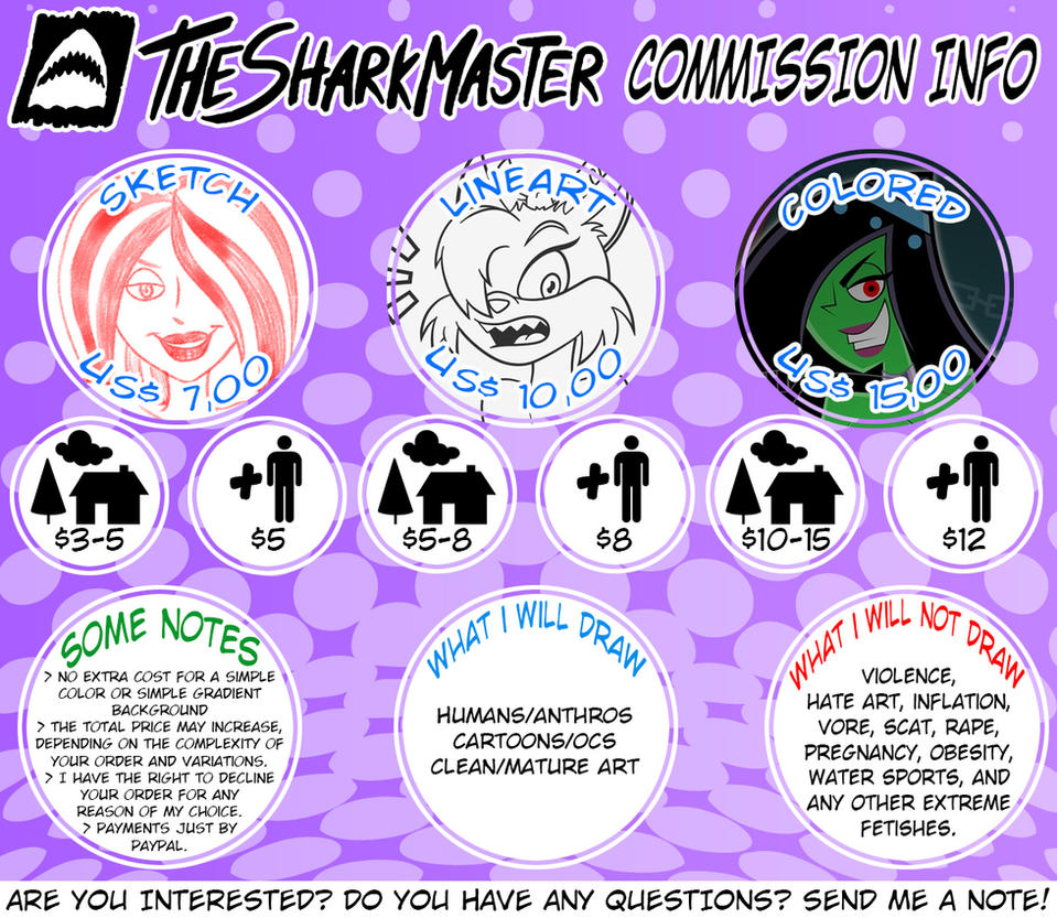 Commission Sheet - 2015 by TheSharkMaster