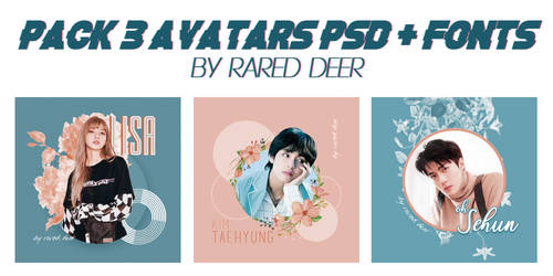 PACK 3 AVATARS PSD + FONTS by rared deer
