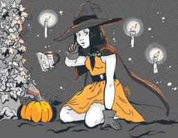 Inktober 4 - Garden Witch by Inain1