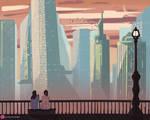 Digital Cityscape Landscape Painting