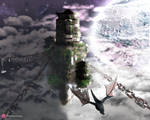 Fantasy Japanese Floating City In Space