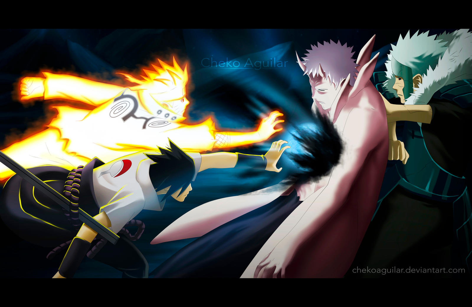 Naruto Manga 641 Naruto and Sasuke vs Obito by ChekoAguilar