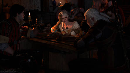 Witchers in the tavern by Tacobuster