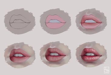 Semi-realistic Lips by serafleur