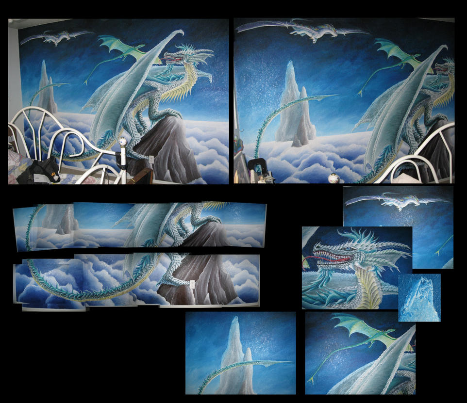 Dragon mural by xovq on deviantart for Dragon mural wallpaper