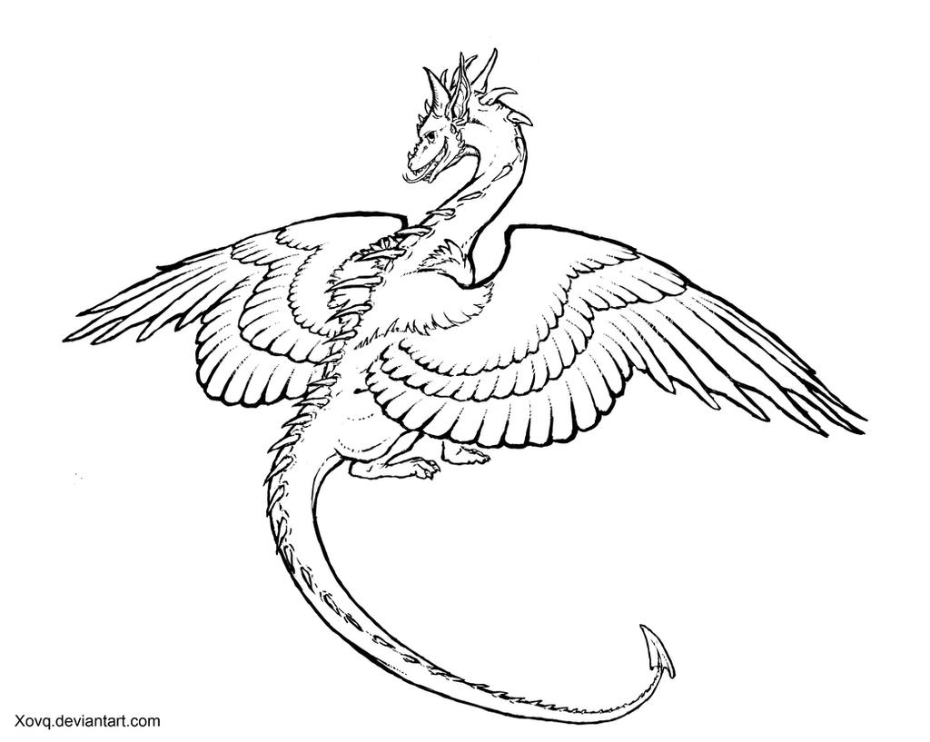 Dragon Lineart : Dragon lineart by xovq on deviantart
