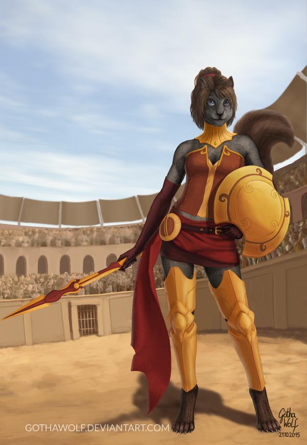 Squirrel Gladiator by GothaWolf