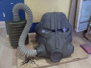 Fallout T-45 power armor helmet WIP part 4.5