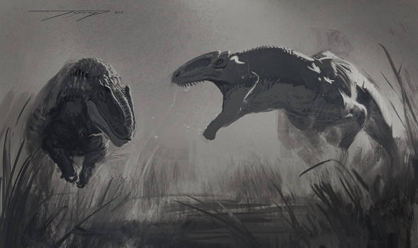 DrawDinovember day 8 allosaurus