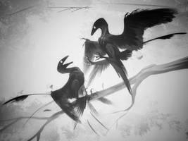 DrawDinovember day 16 Microraptor