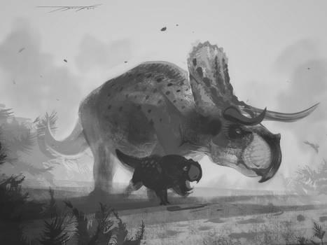 DrawDinovember day 17 Nasutoceratops