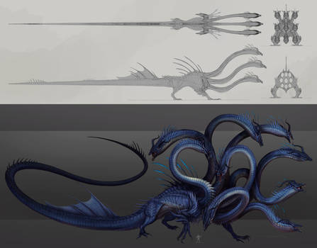 9 headed Hydra- character sheet commission