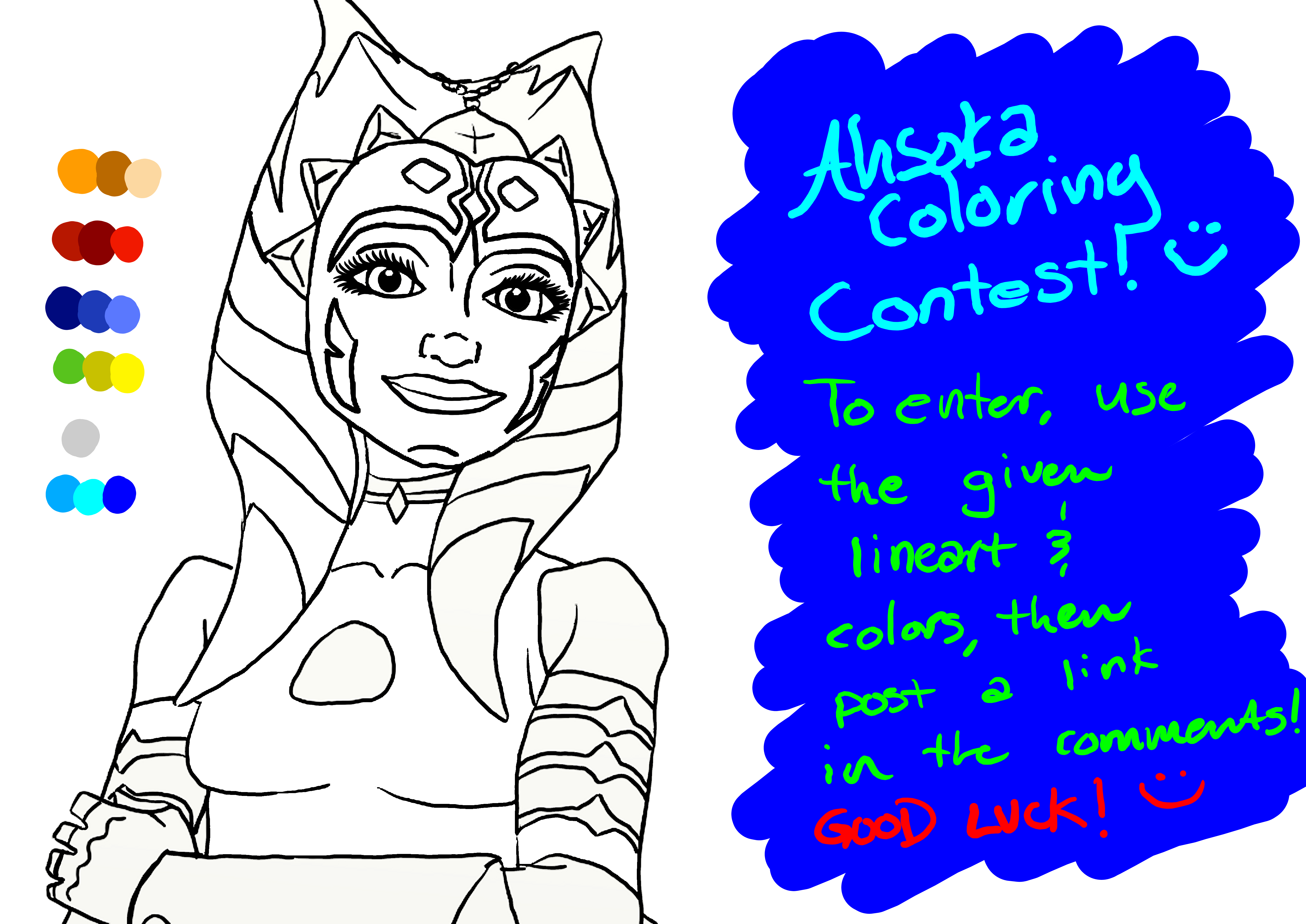 ahsoka coloring contest lineart by chrisily on deviantart
