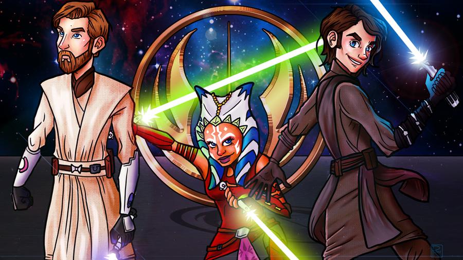Obi-Wan, Ahsoka, and Anakin (Wallpaper) by Chrisily